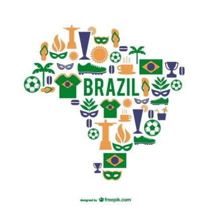 Brazil Graphic Elements Map Free Vector