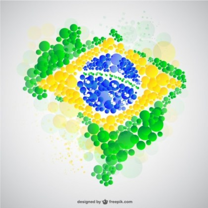 Brazil Map Flag Free Vector