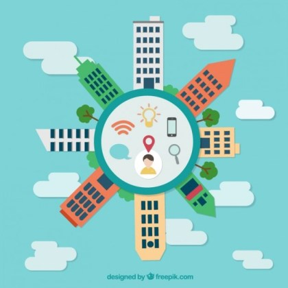 City Buildings in Flat Graphics Free Vector