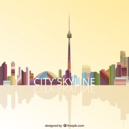 Colorful City Skyline Free Vector