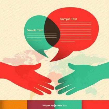 Communication Hand Shake Infographic Free Vector