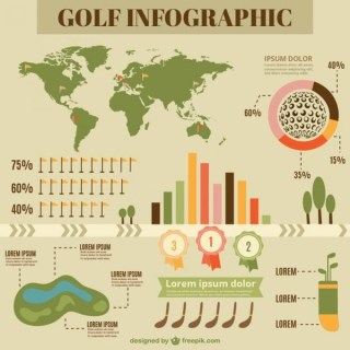 Flat Infography of Golf Free Vector