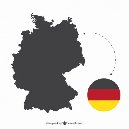 Germany Silhouette and Flag Free Vector