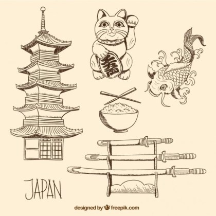 Hand Drawn Japanese Culture Elements Free Vector