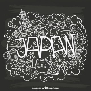 Japan Lettering with Sketchy Elements Free Vector