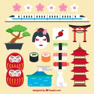 Japanese Elements in Flat Graphics Free Vector