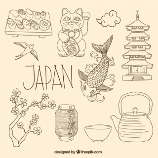 Japanese Elements in Sketchy Style Free Vector