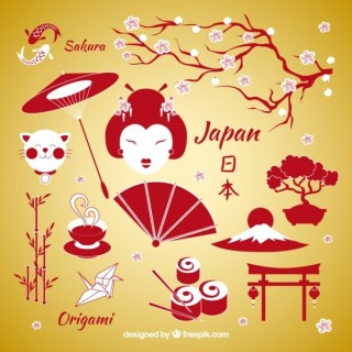 Japanese Elements Free Vector