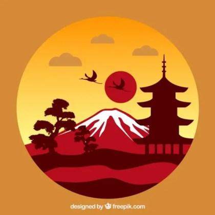 Japanese Landscape Free Vector