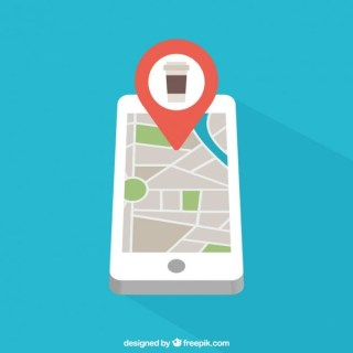Mobile Phone with Map Free Vector