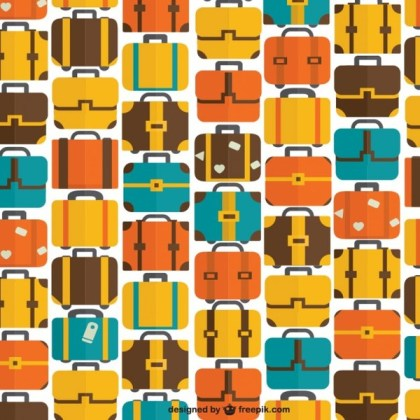 Seamless Bags and Suitcase Travel Pattern Free Vector