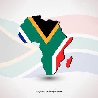 South African Flag with Silhouette Free Vector