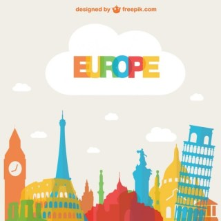 Tourism Europe Background Free Vector