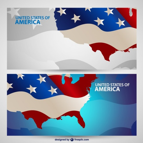 Usa Banner Collection Download Free Vector