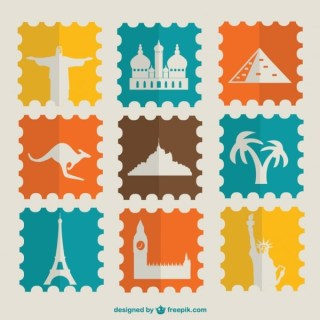 Vintage Stamps Touristic Landmarks Collection Free Vector