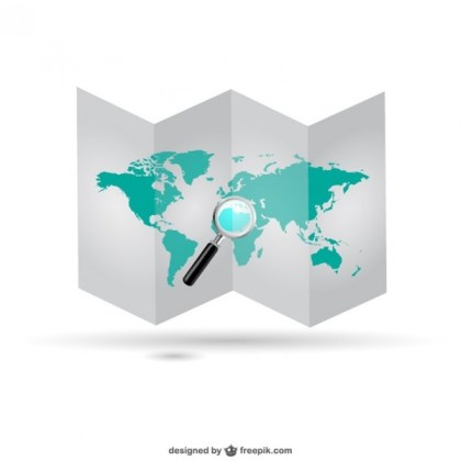 World Map Folded Graphics Free Vector