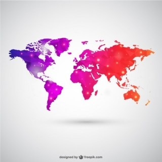 World Map in Polygonal Style Free Vector