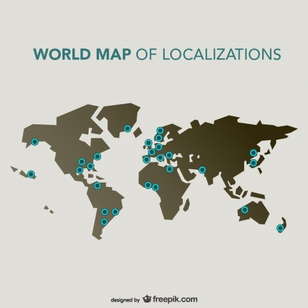 World Map Locations Free Vector