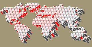 3D Dotted World Map Vector Illustration