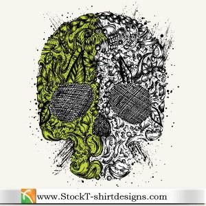 Skull Ornament Free Vector T-shirt Design Illustration