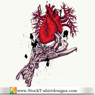 Skeleton Hand Holding Anatomical Red Heart with Free Tee Design