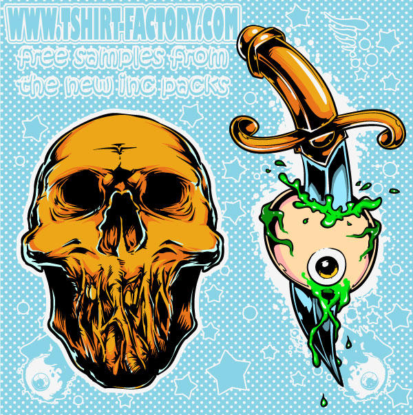 Skeleton and Tattoo Free Vectors
