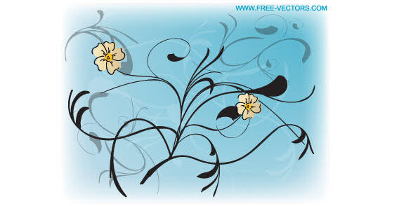 Flowers Free Vector Blue Background