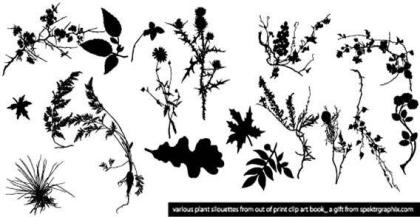 Plant Silhouettes Clip Art