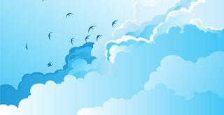 Blue Sky with Birds Vector