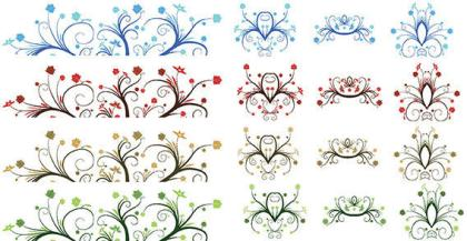 Free Vector – Curly Leaf Ornaments