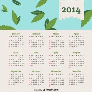 2014 Calendar Falling Leaves in Blue Sky Free Vector