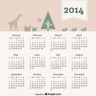 2014 Calendar with Natural Elements in Header Free Vector