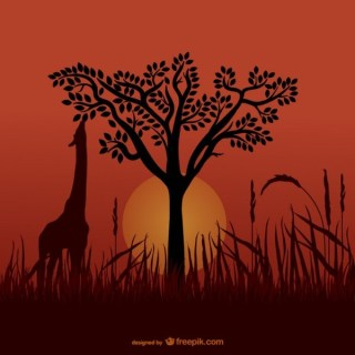 African Giraffe Silhouettes Free Vector