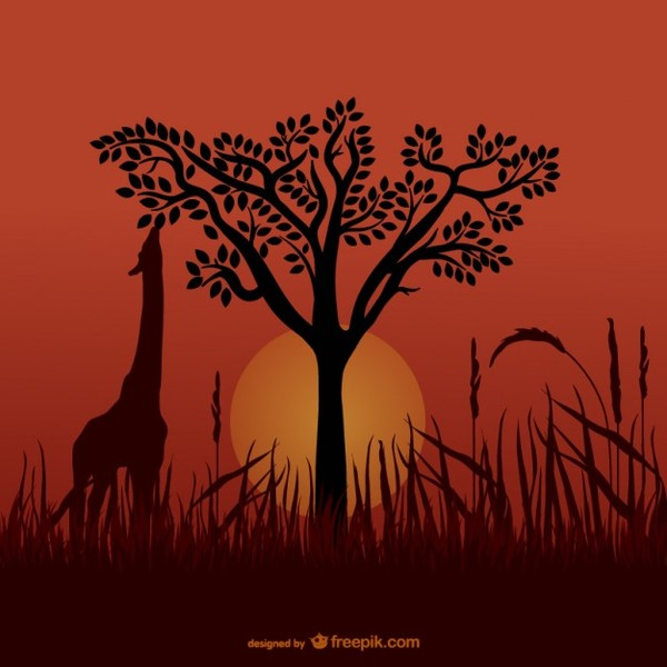 African Giraffe Silhouettes Free Vector
