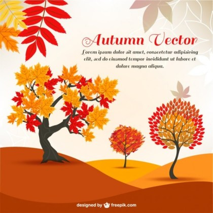 Autumn Cartoon Trees in the Background Free Vector