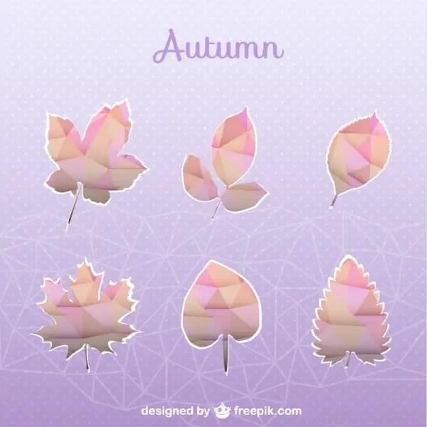 Autumn Geometric Set of Leaves Free Vector