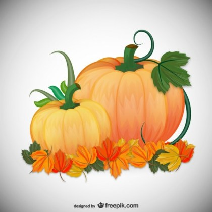 Autumn Pumpkins Illustration Free Vector