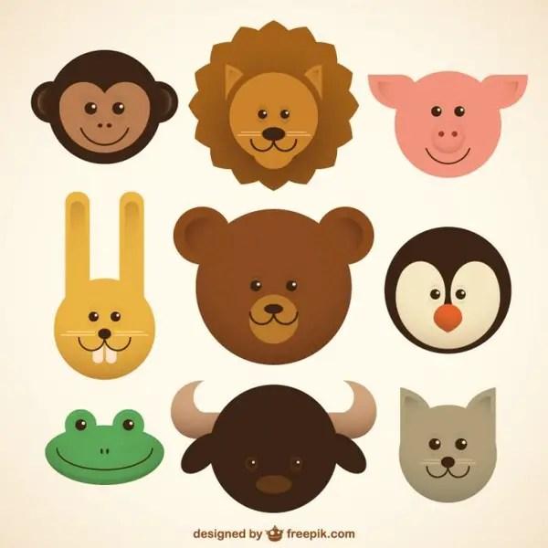 Baby Animals Icons Free Vector