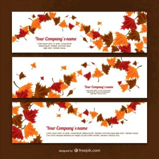Banner Templates with Autumn Leaves Free Vector