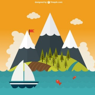 Beautiful Mountaints Landscape On the Sea Free Vector
