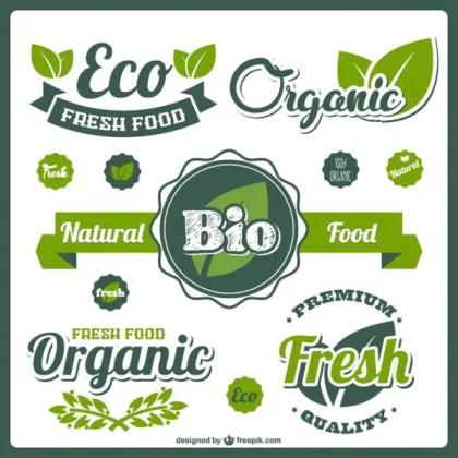 Bio Fresh Food Labels Free Vector