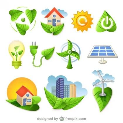 Bio Green Nature Icons Free Vector