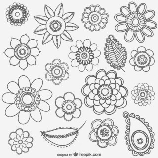 Black and White Flower Drawings Free Vector