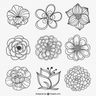 Black and White Flowers Free Vector