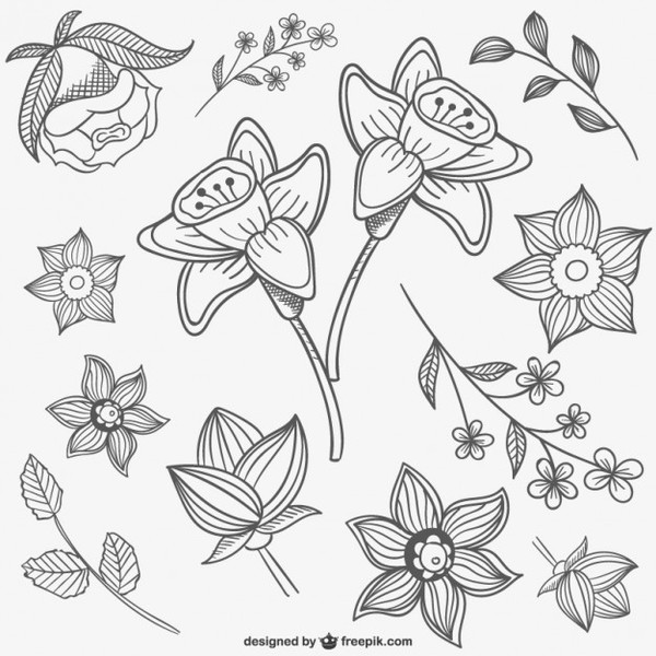 Black and White Flowers Illustrations Free Vector