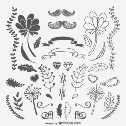 Black and White Sketchy Ornaments and Flowers Free Vector