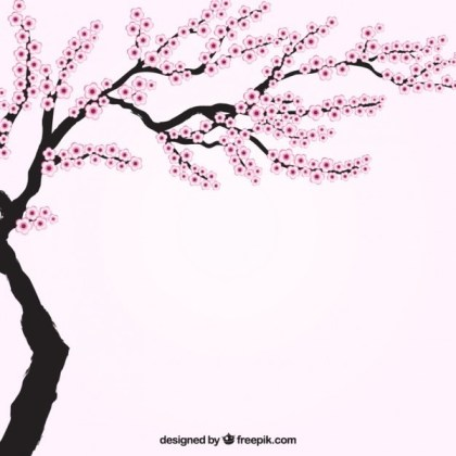 Blooming Cherry Tree Free Vector
