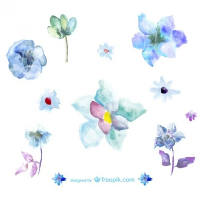 Blue Watercolor Flowers Illustrations Free Vector