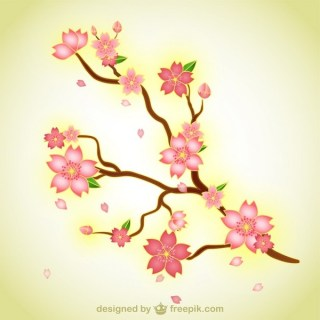 Branch with Flowers Illustration Free Vector