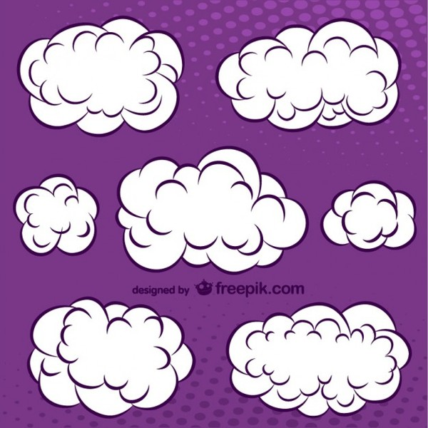 Cartoon Comic Book Cartoon Clouds Set Free Vector